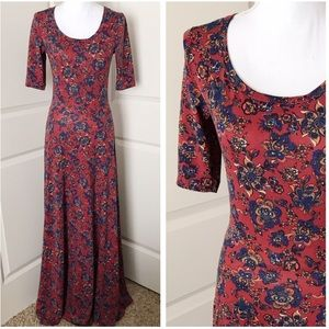 LULAROE Ana Red Floral Maxi Dress SIZE SMALL
